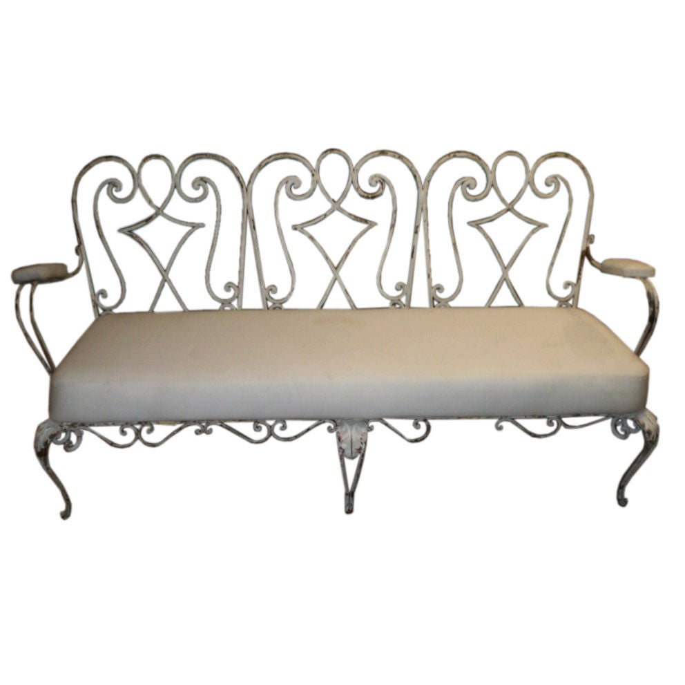 French 1940s Wrought Iron Garden Bench At 1stdibs
