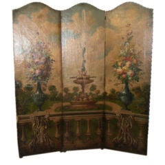 HAND PAINTED ITALIAN LEATHER SCREEN