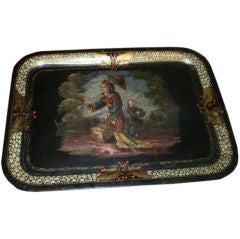 Large Antique French Chinioserie Tole Tray