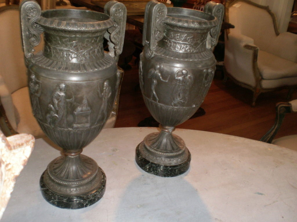 19th Century Pair Of Antique French Neoclassical Style Urns For Sale