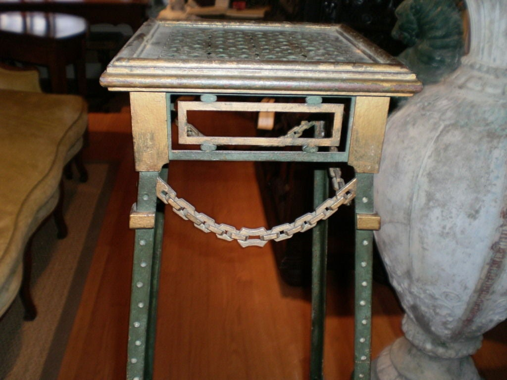 Art Deco  French Maison Jansen Style Iron and Bronze Pedestal Table For Sale