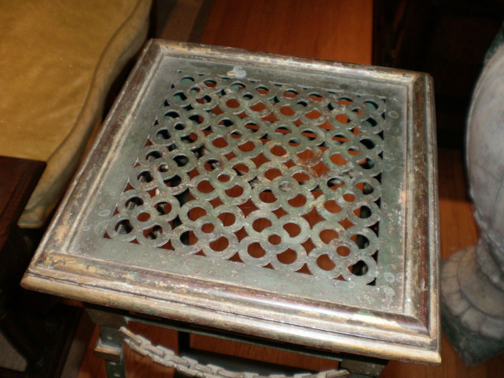 French Maison Jansen Style Iron and Bronze Pedestal Table In Good Condition For Sale In Houston, TX
