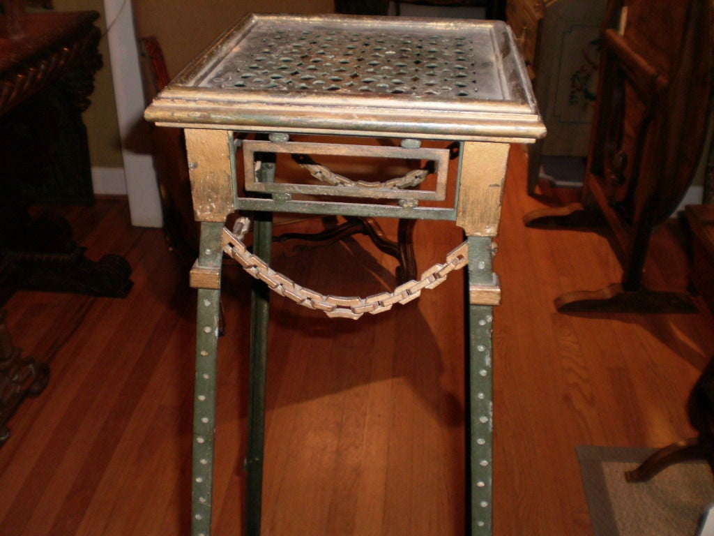 Mid-20th Century  French Maison Jansen Style Iron and Bronze Pedestal Table For Sale