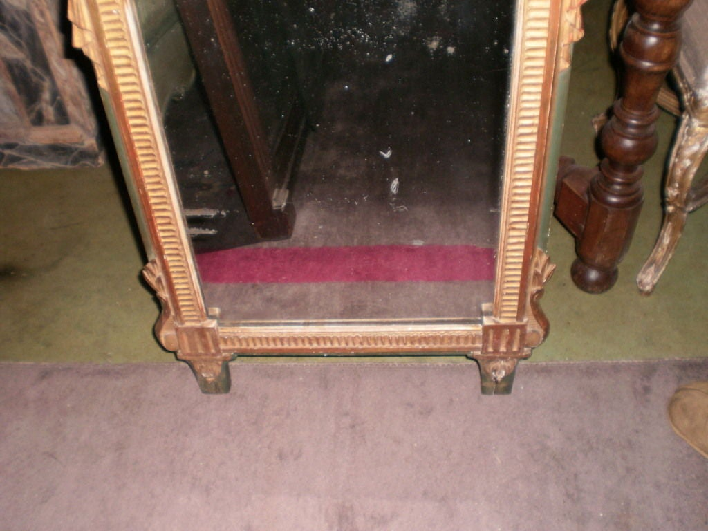 18th Century French Louis XVI Painted and Giltwood Trumeau Armorial Mirror In Good Condition For Sale In Houston, TX