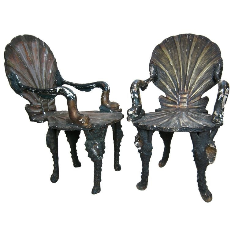 Pair of Grotto Chairs For Sale