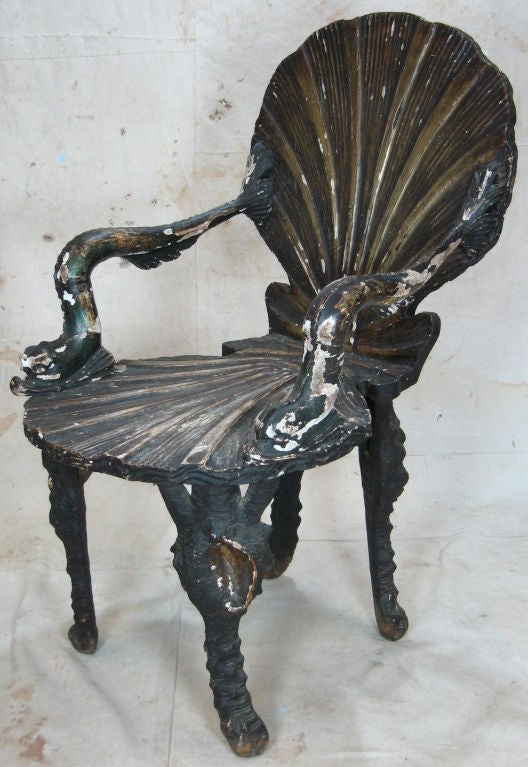 Italian Pair of Grotto Chairs For Sale