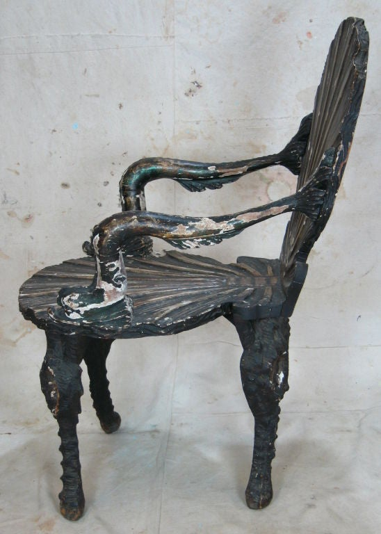 Pair of Grotto Chairs In Distressed Condition For Sale In High Point, NC