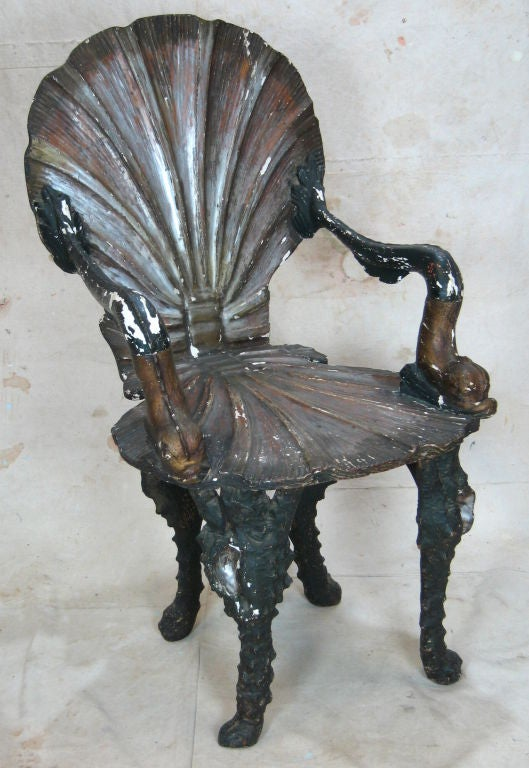 Silver Leaf Pair of Grotto Chairs For Sale