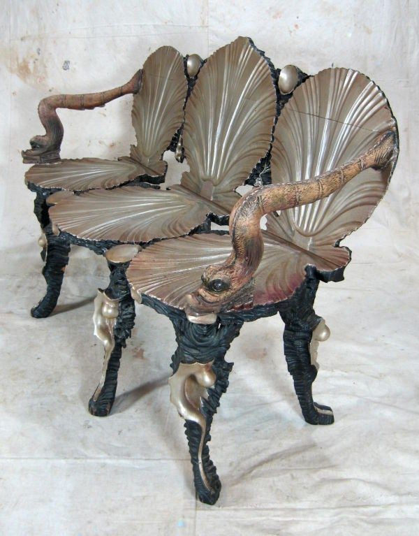 Italian Grotto Settee Chair For Sale