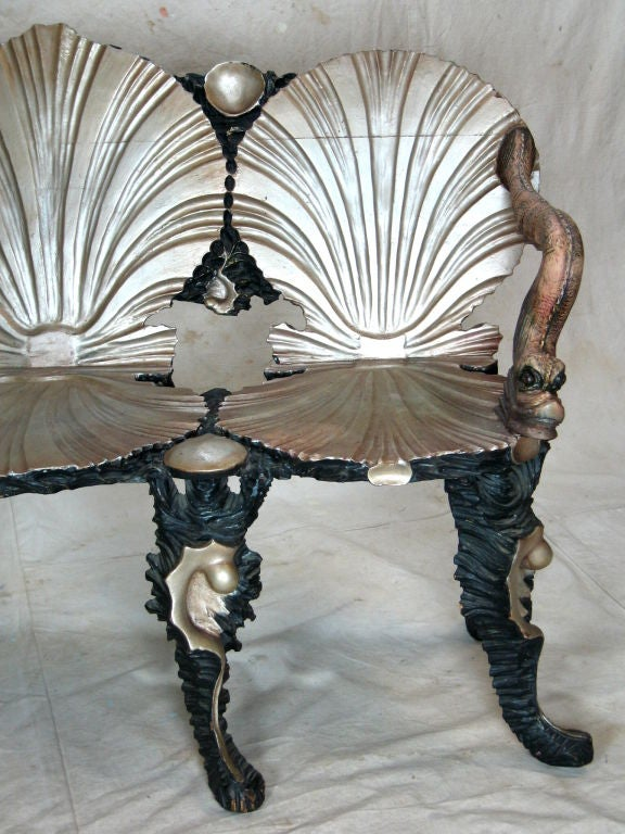 Wood Grotto Settee Chair For Sale