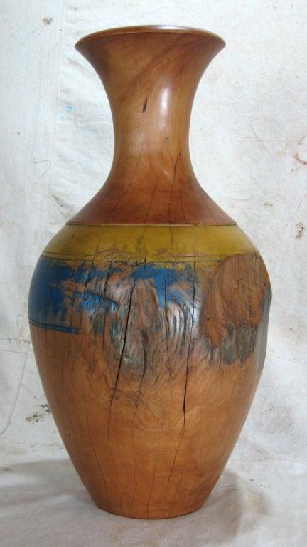 Large Turned Wood Vase At 1stdibs