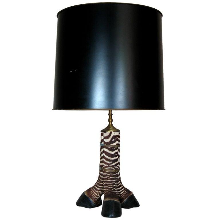 Zebra Floor Lamps : Zebra foot lamp at stdibs