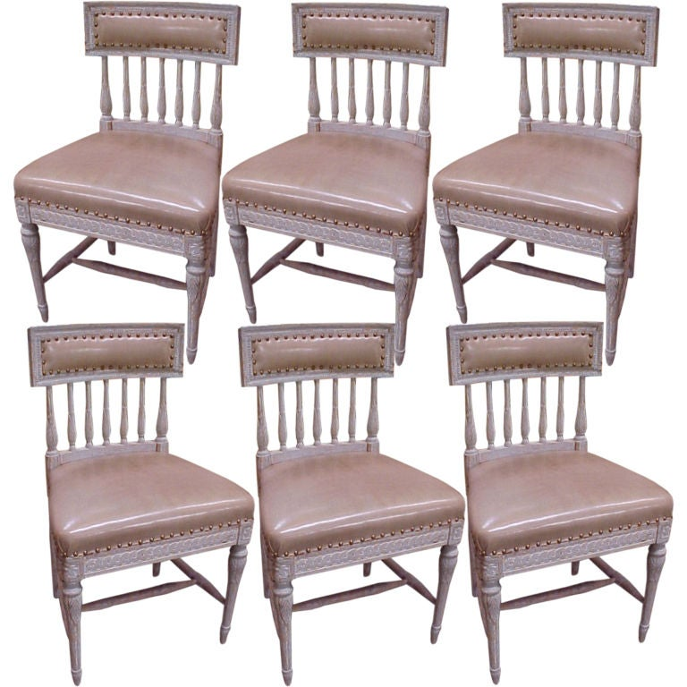 A Set Of Six 6 Gustavian Swedish Dining Chairs At 1stdibs