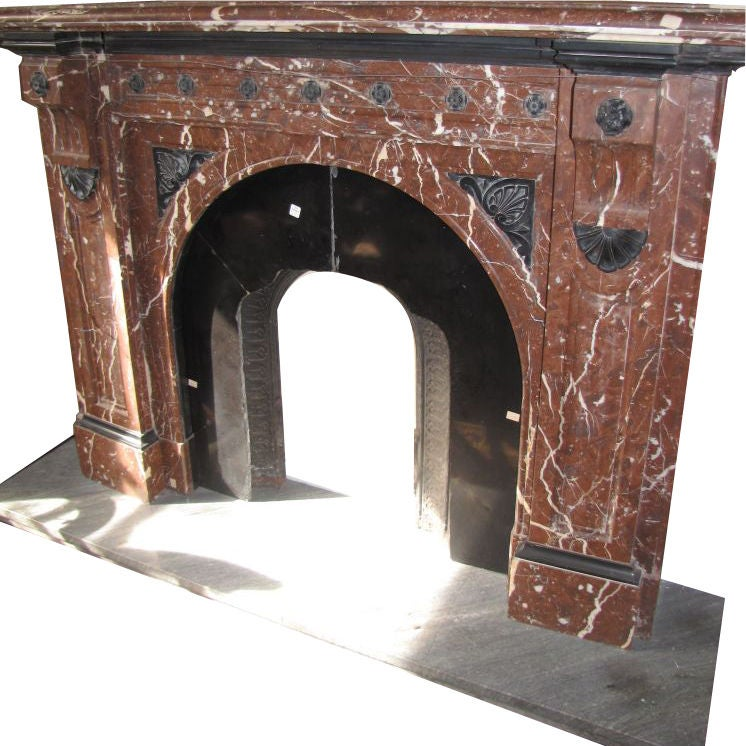 French Griotte Red And Black Marble Fireplace Mantel A247 At 1stdibs