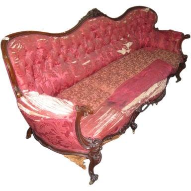 Late Victorian carved walnut sofa