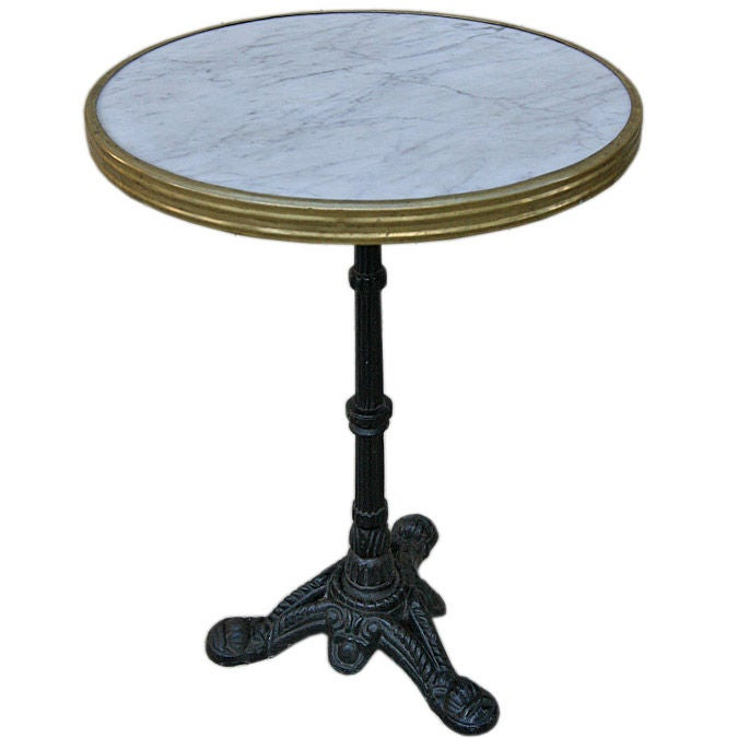 Marble Bistro Accent Table: French Marble Topped Bistro Table At 1stdibs