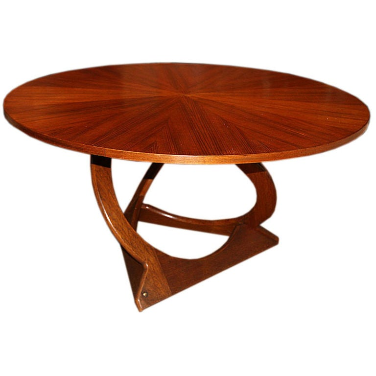 Danish Round Teak Coffee Table With Teak Veneer Top at 1stdibs