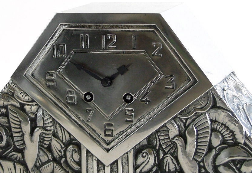 Art deco french clock silver on bronze by c. terras at 1stdibs