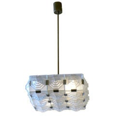 French Style Cubist Glass Chandelier