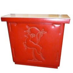 Classic Late 1940s Art Deco Red Swing Bar