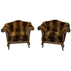 Faux Leopard Carved library chairs