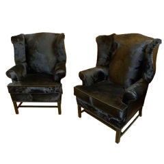Original American Art Deco Wingback Chairs
