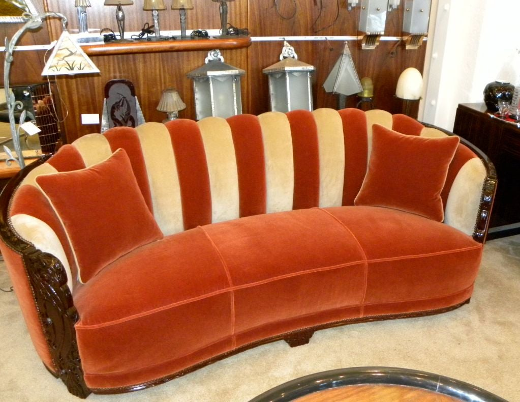 spectacular art deco two tone glamour sofa with original carving at 1stdibs. Black Bedroom Furniture Sets. Home Design Ideas