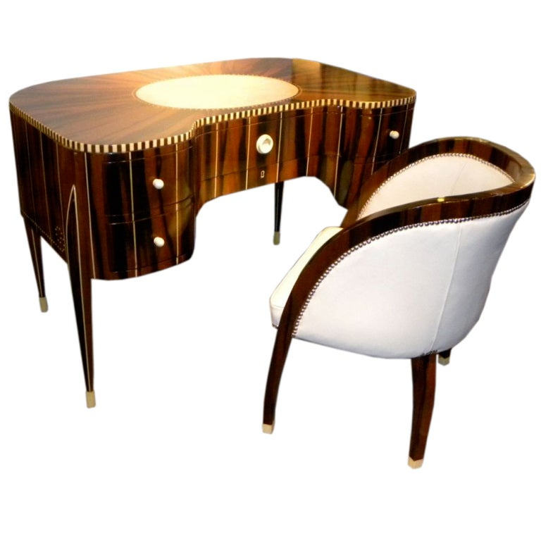 Awesome Art Deco Desk And Chair In Style Of Ruhlmann At