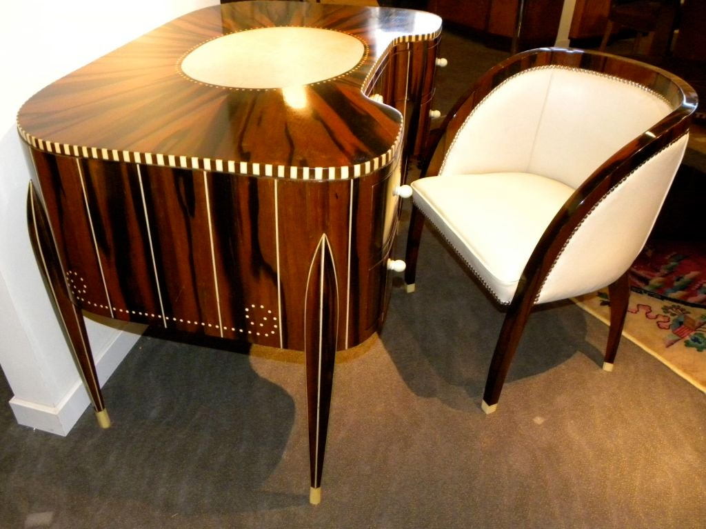 Awesome Art Deco Desk And Chair In The Style Of Ruhlmann For Sale - Art deco furniture designers desks