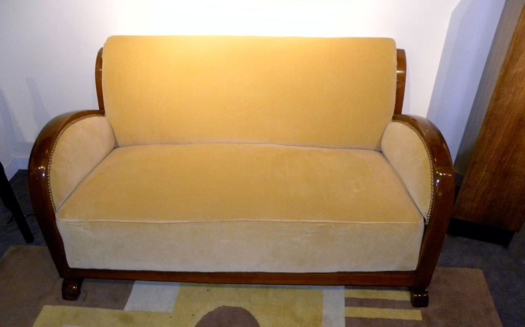 Original Restored French Art Deco Sofa Suite Settee With