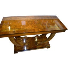 Fabulous Art Deco wood console with supported base
