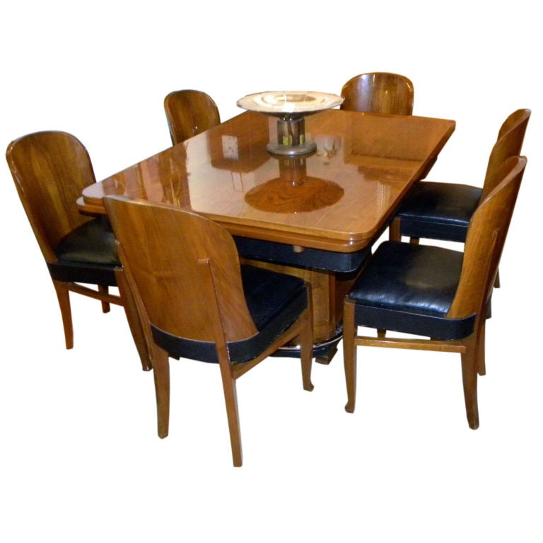 Streamline French Art Deco Dining Table And Chairs At 1stdibs