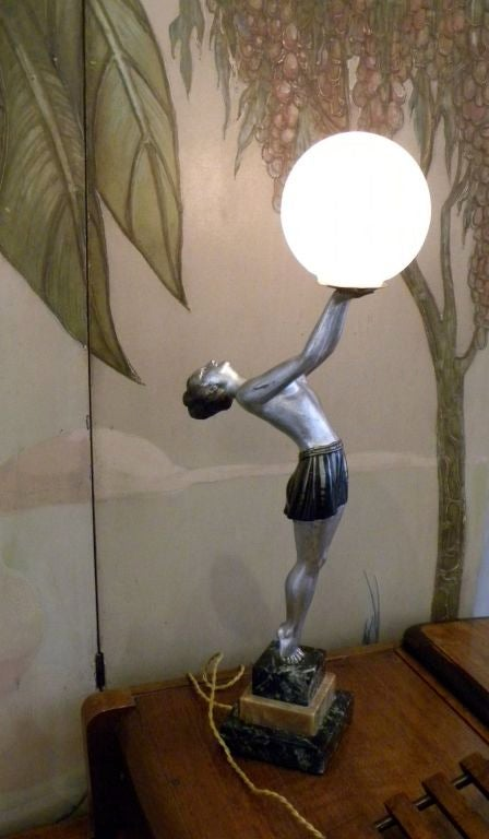 Unique French Art Deco statue-light by, Balleste image 2
