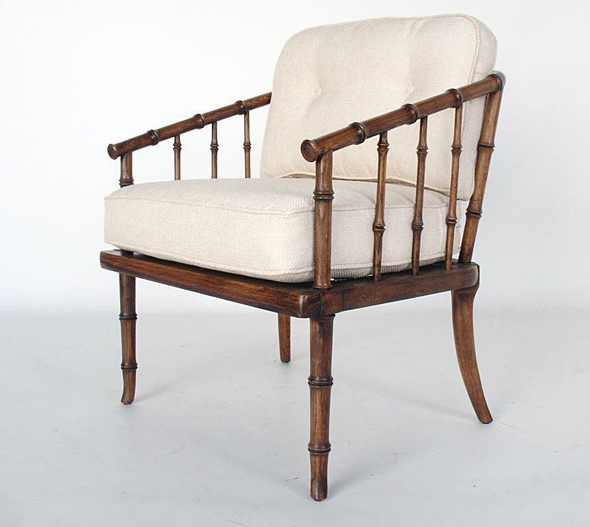 Pair Of Faux Bamboo Chairs In Natural Linen At 1stdibs
