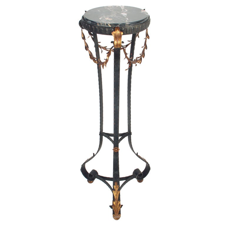 Black Iron And Marble Plant Stand With Gilt Details By Palladio
