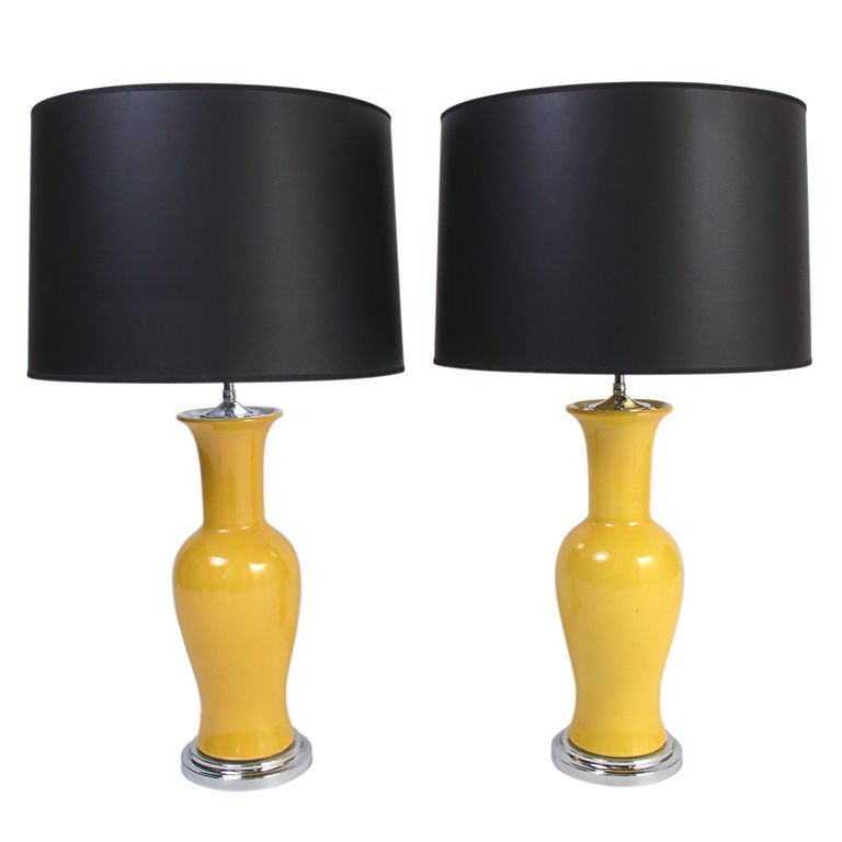 Vibrant Yellow Chinese Porcelain Vase Lamps