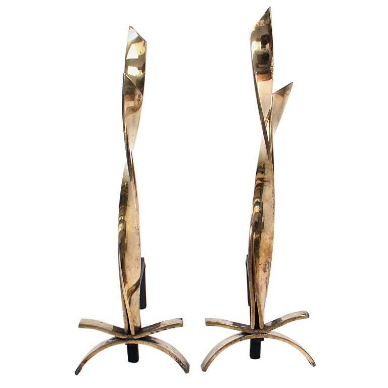 Brass Flame Andirons circa 1950's