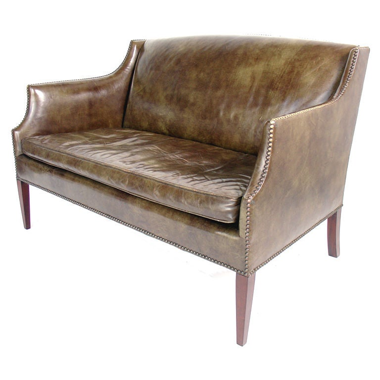 Perfectly Patinated Leather Settee with Brass Nailhead Trim