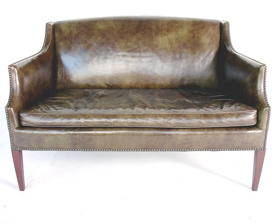 Perfectly Patinated Leather Settee with Brass Nailhead Trim 2