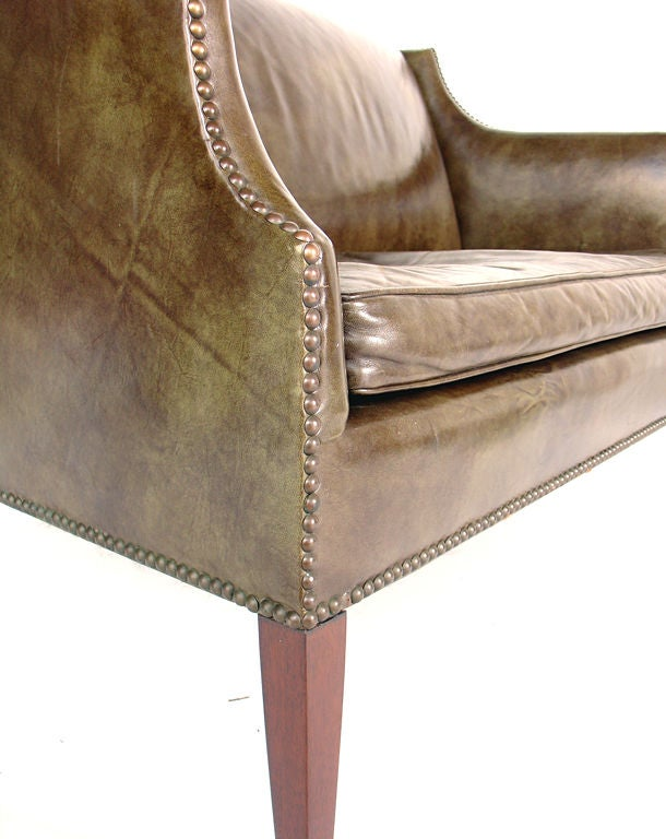Perfectly Patinated Leather Settee with Brass Nailhead Trim image 3