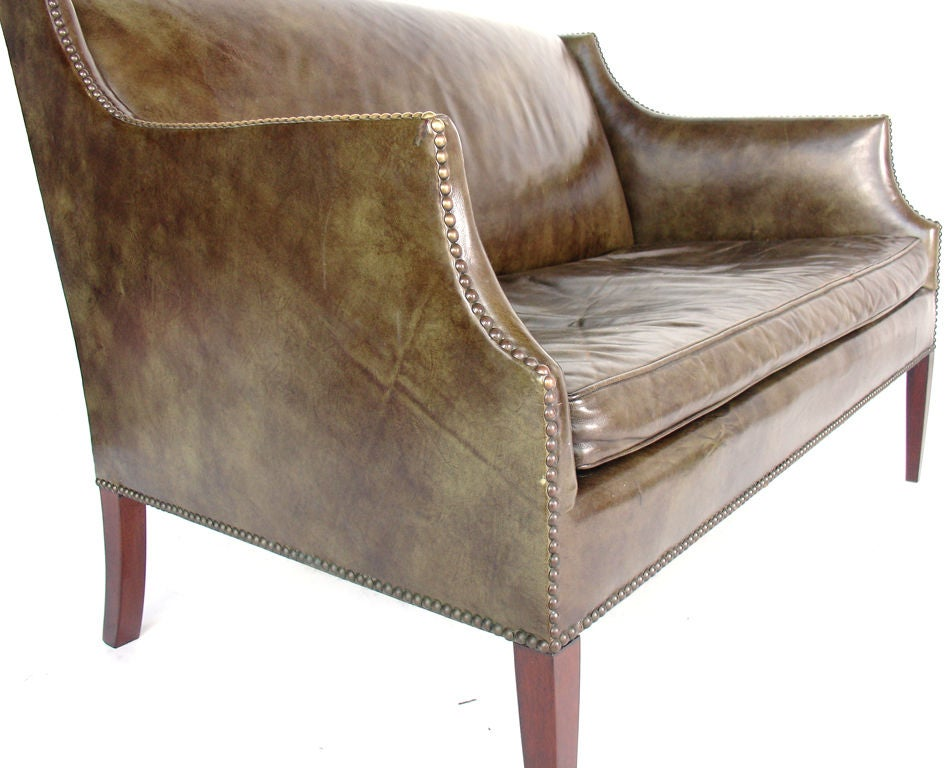 Perfectly Patinated Leather Settee with Brass Nailhead Trim image 4
