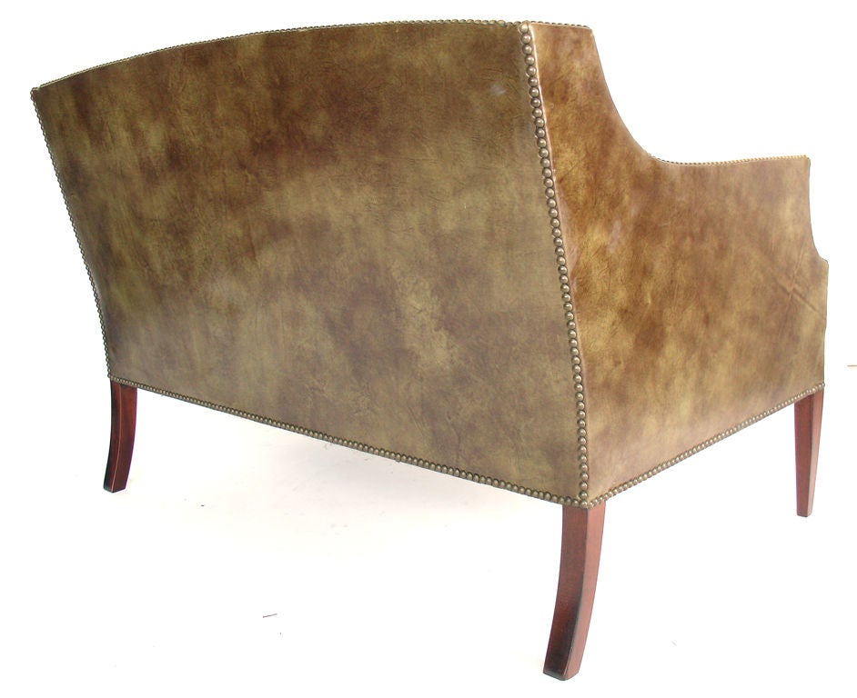 Perfectly Patinated Leather Settee with Brass Nailhead Trim image 6