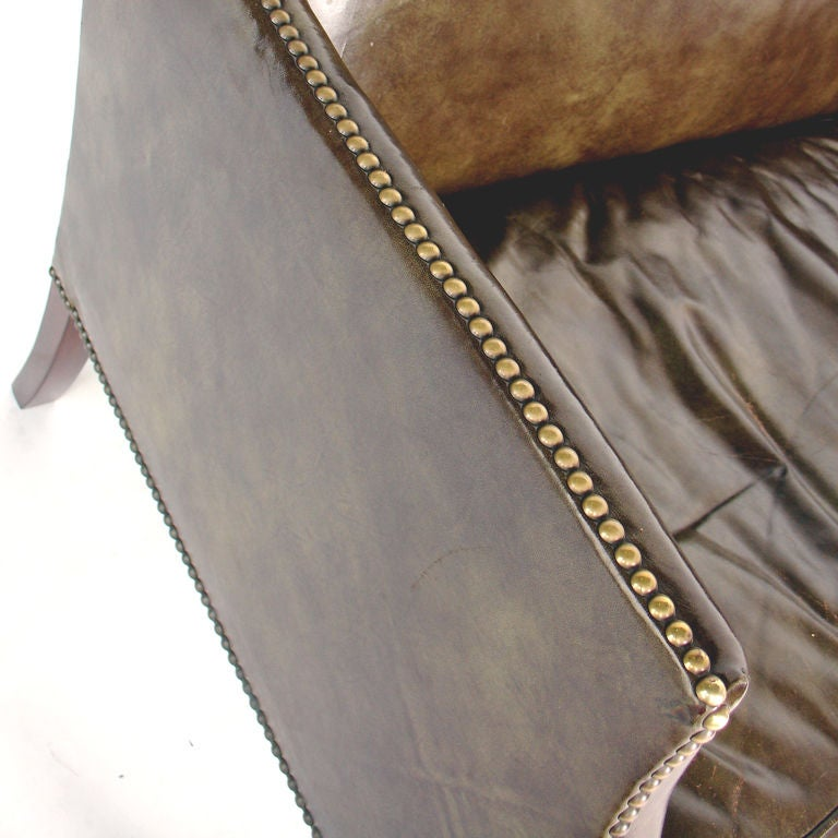 Perfectly Patinated Leather Settee with Brass Nailhead Trim 7