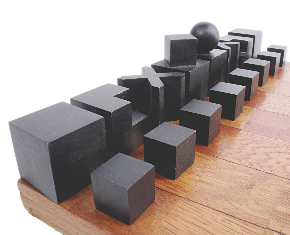 American Modernist Bauhaus Chess Set designed by Josef Hartwig For Sale