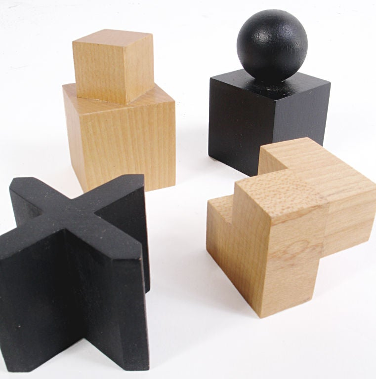 Pearwood Modernist Bauhaus Chess Set designed by Josef Hartwig For Sale