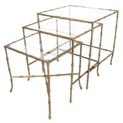 Brass Bamboo Form Nesting Tables circa 1940's