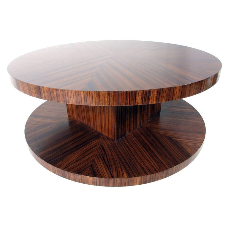 Zebra wood coffee table with revolving top at stdibs