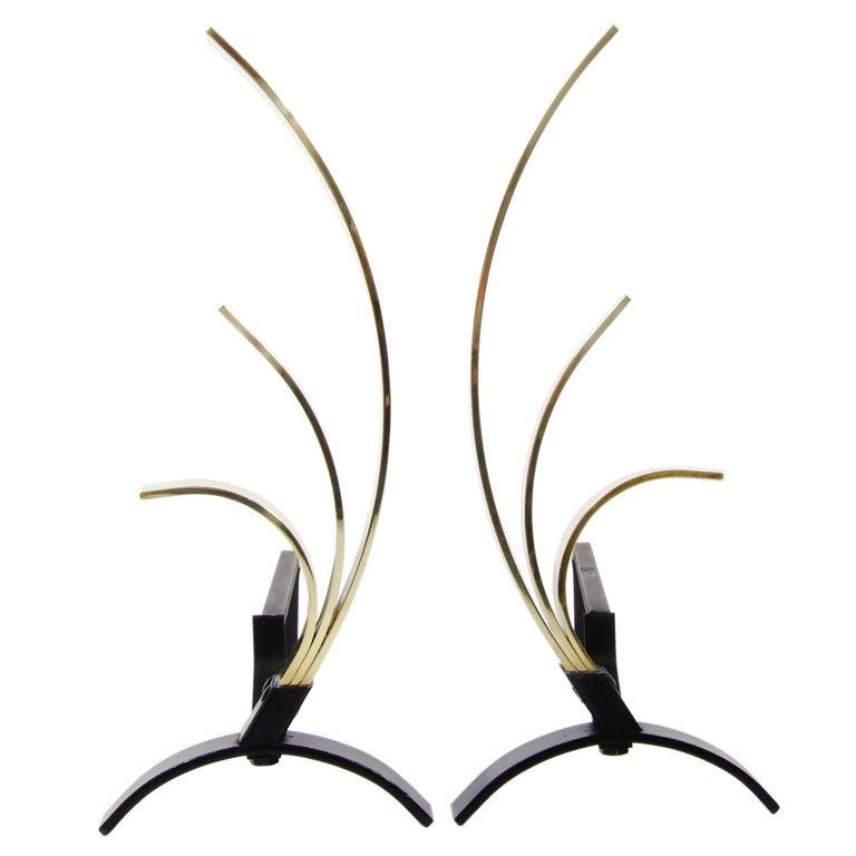 Sculptural Swoop Form Andirons