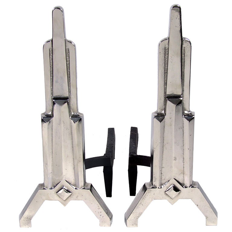 Nickel Art Deco Skyscraper Andirons