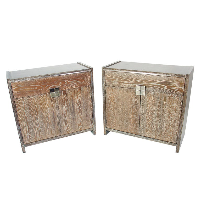 Pair of limed oak cabinets with nickel hardware at 1stdibs for Expressive kitchen cabinets